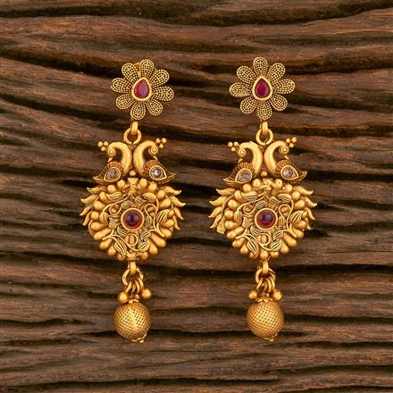 500343 Antique South Indian Earring With Matte Gold Plating
