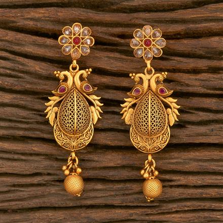 500345 Antique South Indian Earring With Matte Gold Plating