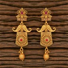500346 Antique Delicate Earring With Matte Gold Plating