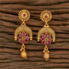 500347 Antique Delicate Earring With Matte Gold Plating
