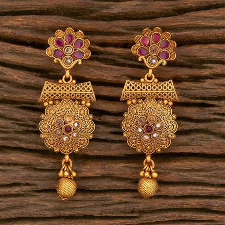 500350 Antique Delicate Earring With Matte Gold Plating