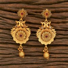 500352 Antique South Indian Earring With Matte Gold Plating