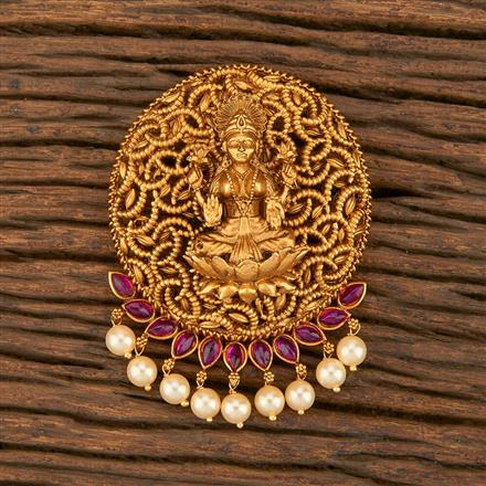 500359 Antique Temple Hair Brooch With Matte Gold Plating