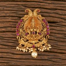 500360 Antique Temple Hair Brooch With Matte Gold Plating