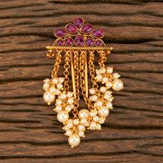 500361 Antique Classic Hair Brooch With Matte Gold Plating