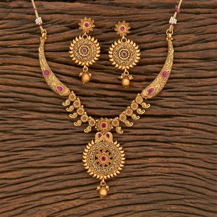 500365 Antique Classic Necklace With Matte Gold Plating