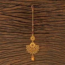 500366 Antique Chand Tikka With Matte Gold Plating