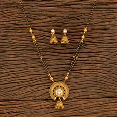 500385 Antique Classic Mangalsutra With Matte Gold Plating
