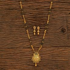 500388 Antique Classic Mangalsutra With Matte Gold Plating