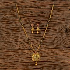 500389 Antique Classic Mangalsutra With Matte Gold Plating