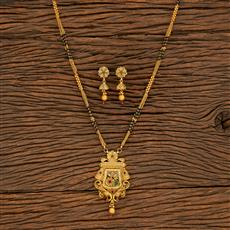 500392 Antique Classic Mangalsutra With Matte Gold Plating