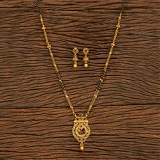 500393 Antique Classic Mangalsutra With Matte Gold Plating