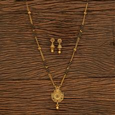 500395 Antique Classic Mangalsutra With Matte Gold Plating