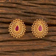 500413 Antique Delicate Earring With Matte Gold Plating