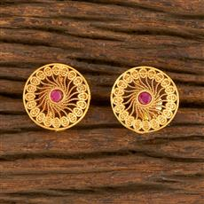 500414 Antique Delicate Earring With Matte Gold Plating
