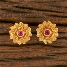 500415 Antique Delicate Earring With Matte Gold Plating