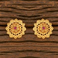 500416 Antique Delicate Earring With Matte Gold Plating