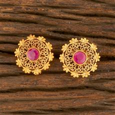 500417 Antique Delicate Earring With Matte Gold Plating