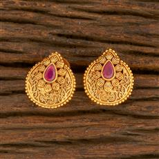 500418 Antique Delicate Earring With Matte Gold Plating