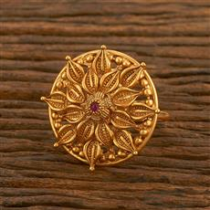 500471 Antique Classic Ring With Matte Gold Plating
