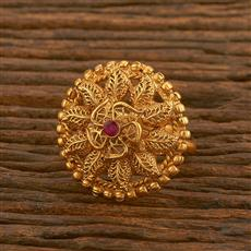 500472 Antique Classic Ring With Matte Gold Plating