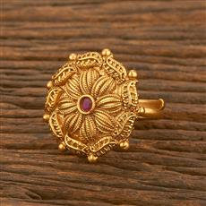 500473 Antique Classic Ring With Matte Gold Plating