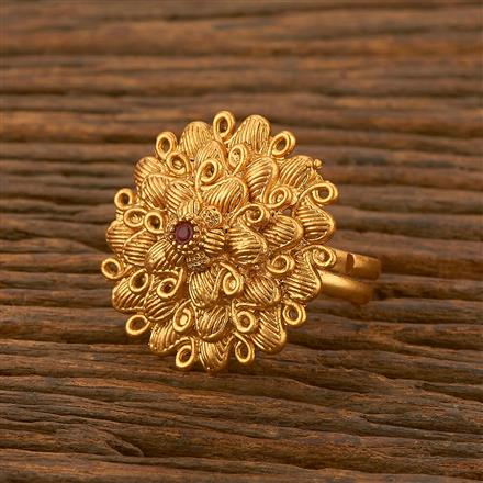 500474 Antique Classic Ring With Matte Gold Plating