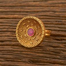 500475 Antique Classic Ring With Matte Gold Plating