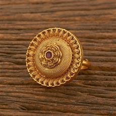 500477 Antique Classic Ring With Matte Gold Plating