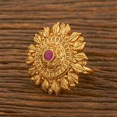 500478 Antique Classic Ring With Matte Gold Plating