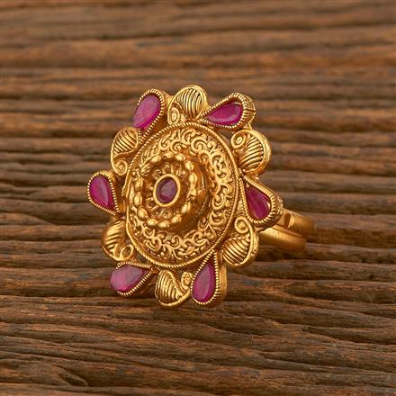 500481 Antique Classic Ring With Matte Gold Plating