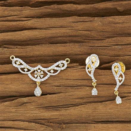 50071 CZ Delicate Mangalsutra with 2 tone plating