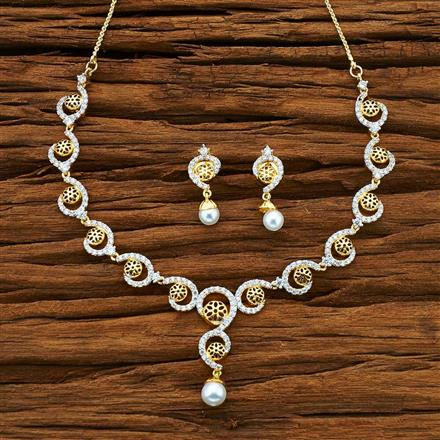 50162 CZ Delicate Necklace with 2 tone plating