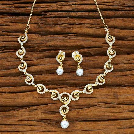 50163 CZ Delicate Necklace with gold plating