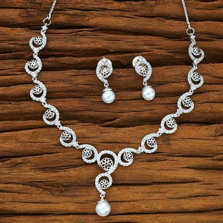 50164 CZ Delicate Necklace with rhodium plating