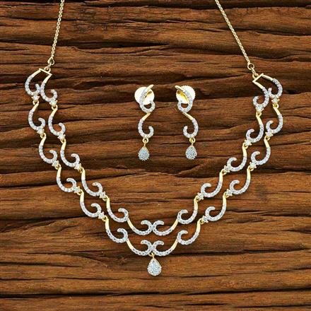 50165 CZ Delicate Necklace with 2 tone plating