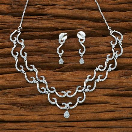 50167 CZ Delicate Necklace with rhodium plating