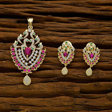 50222 CZ Classic Pendant Set with gold plating