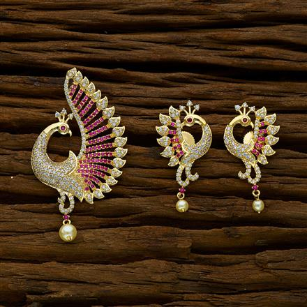 50230 CZ Peacock Pendant Set with gold plating