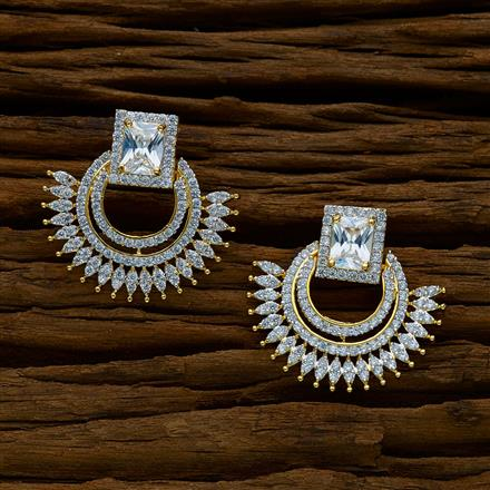 50233 CZ Chand Earring with gold plating