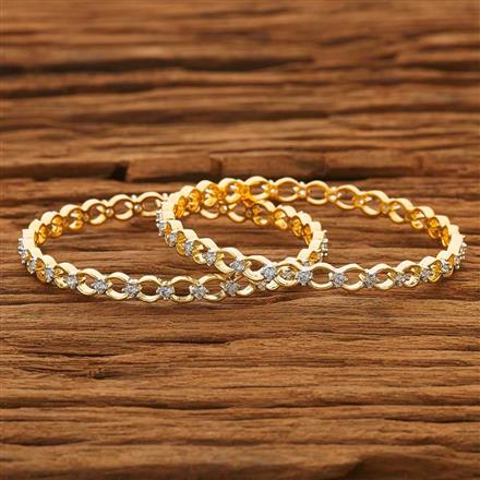 50435 CZ 2 Pc Bangle with 2 tone plating