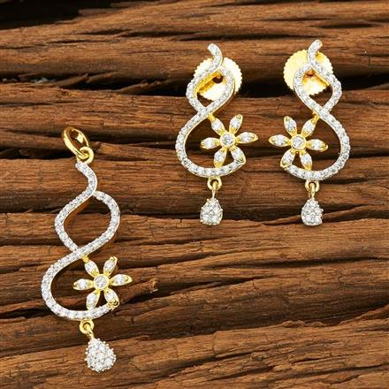 50455 CZ Delicate Pendant Set with 2 tone plating