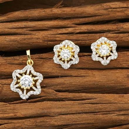 50458 CZ Delicate Pendant Set with 2 tone plating