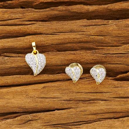 50460 CZ Delicate Pendant Set with 2 tone plating