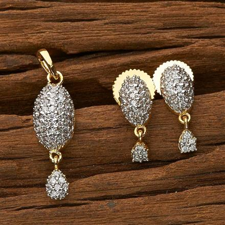 50466 CZ Delicate Pendant Set with 2 tone plating