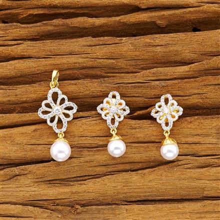 50477 CZ Delicate Pendant Set with 2 tone plating