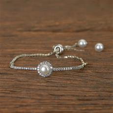 50494 Cz Adjustable Bracelet With Rhodium Plating