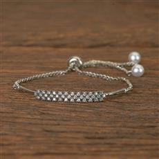 50562 Cz Adjustable Bracelet With Rhodium Plating