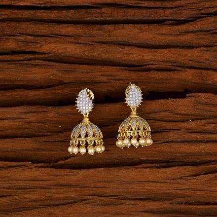 50571 American Diamond Jhumki with gold plating