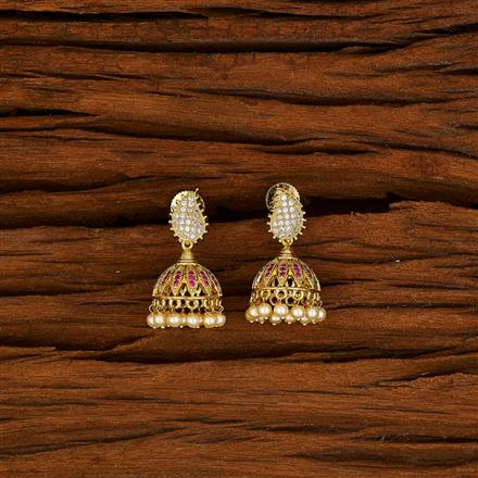 50572 American Diamond Jhumki with gold plating